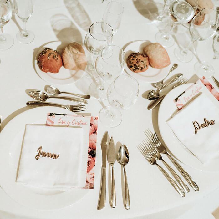 Mesa celebración boda